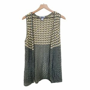Green & yellow lightweight knit open vest cardigan